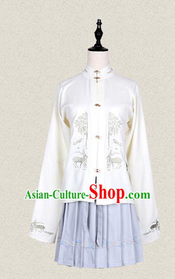 Traditional Asian Chinese Ancient Princess Costume, Elegant Hanfu Blouse Clothing, Chinese Imperial Princess Embroidered Deer Costumes for Women