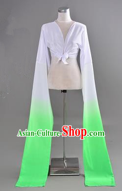 Traditional Chinese Long Sleeve Water Sleeve Dance Suit China Folk Dance Koshibo Long White and Geen Gradient Ribbon for Women