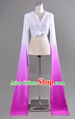 Traditional Chinese Long Sleeve Water Sleeve Dance Suit China Folk Dance Koshibo Long White and Purple Gradient Ribbon for Women