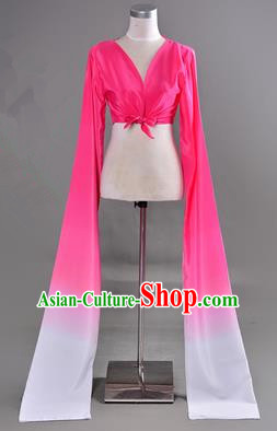 Traditional Chinese Long Sleeve Water Sleeve Dance Suit China Folk Dance Koshibo Long White and Rose Red Gradient Ribbon for Women