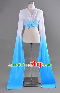Traditional Chinese Long Sleeve Water Sleeve Dance Suit China Folk Dance Koshibo Long White and Blue Red Gradient Ribbon for Women