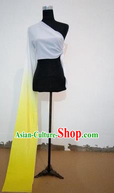 Traditional Chinese Long Sleeve Single Water Sleeve Dance Suit China Folk Dance Koshibo Long Yellow and White Gradient Ribbon for Women