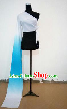 Traditional Chinese Long Sleeve Single Water Sleeve Dance Suit China Folk Dance Koshibo Long Blue and White Gradient Ribbon for Women