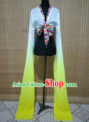 Traditional Chinese Long Sleeve Tibetan Nationality Water Sleeve Dance Suit China Folk Dance Koshibo Long White and Yellow Gradient Ribbon for Women