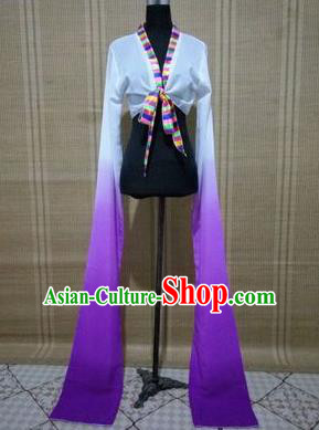 Traditional Chinese Long Sleeve Tibetan Nationality Water Sleeve Dance Suit China Folk Dance Koshibo Long White and Purple Gradient Ribbon for Women