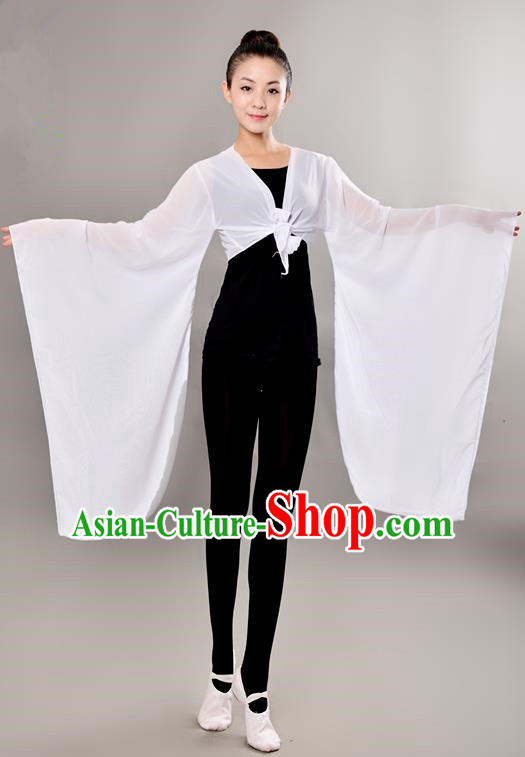 Traditional Chinese Wide Sleeve Water Sleeve Dance Suit China Folk Dance Chiffon White Blouse for Women
