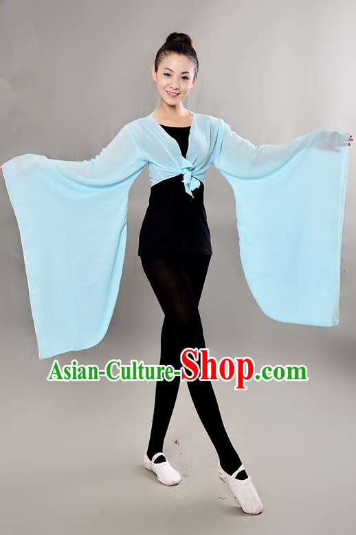 Traditional Chinese Wide Sleeve Water Sleeve Dance Suit China Folk Dance Chiffon Blue Blouse for Women