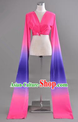 Traditional Chinese Long Sleeve Water Sleeve Dance Suit China Folk Dance Koshibo Long Blue and Pink Gradient Ribbon for Women