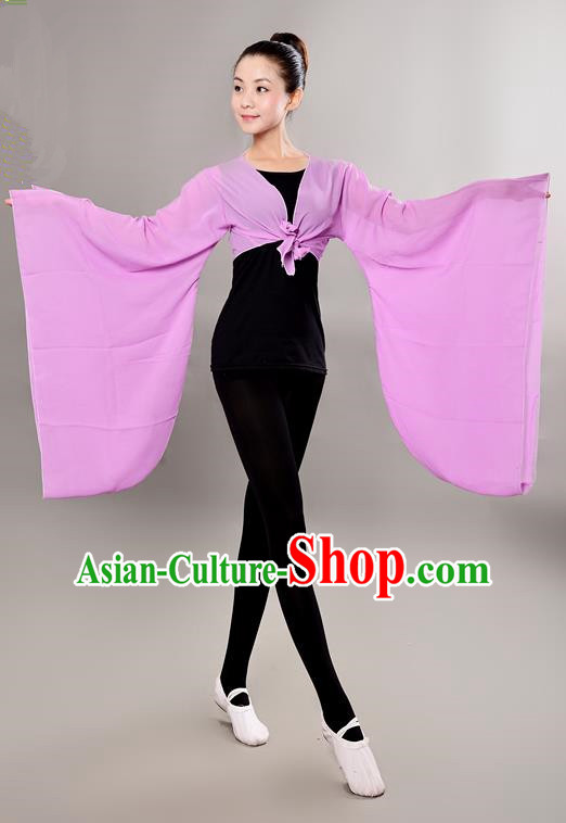 Traditional Chinese Wide Sleeve Water Sleeve Dance Suit China Folk Dance Chiffon Pink Blouse for Women