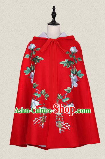 Traditional Ancient Chinese Female Costume Cardigan, Elegant Hanfu Short Cloak Chinese Ming Dynasty Palace Lady Embroidered Hooded Red Cape Clothing for Women