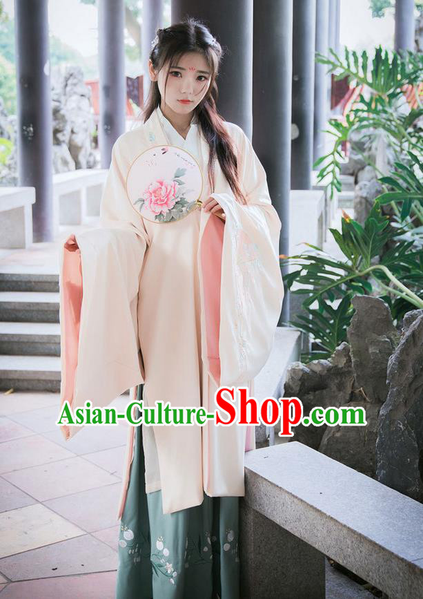 Traditional Ancient Chinese Female Costume Cardigan, Elegant Hanfu Clothing Chinese Ming Dynasty Palace Lady Embroidered Fans Wide Sleeve Cappa Clothing for Women