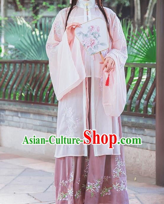 Traditional Ancient Chinese Female Costume Stand Collar Blouse and Dress Complete Set, Elegant Hanfu Clothing Chinese Ming Dynasty Palace Princess Embroidered Clothing for Women