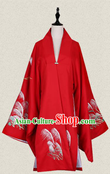 Traditional Ancient Chinese Female Costume Cardigan, Elegant Hanfu Clothing Chinese Ming Dynasty Palace Lady Embroidered Crane Wide Sleeve Red Cappa Clothing for Women