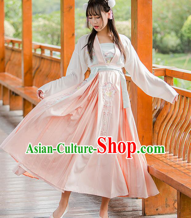 Traditional Ancient Chinese Female Costume Blouse and Dress Complete Set, Elegant Hanfu Clothing Chinese Song Dynasty Palace Princess Embroidered Flowers Clothing for Women