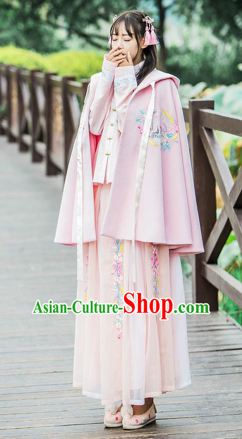 Traditional Ancient Chinese Female Costume Woolen Cardigan, Elegant Hanfu Short Cloak Chinese Ming Dynasty Palace Lady Embroidered Swallow Hooded Pink Cape Clothing for Women