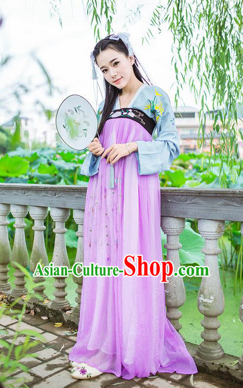 Traditional Ancient Chinese Female Costume Blouse and Dress Complete Set, Elegant Hanfu Clothing Chinese Tang Dynasty Palace Princess Embroidered Orchid Clothing for Women