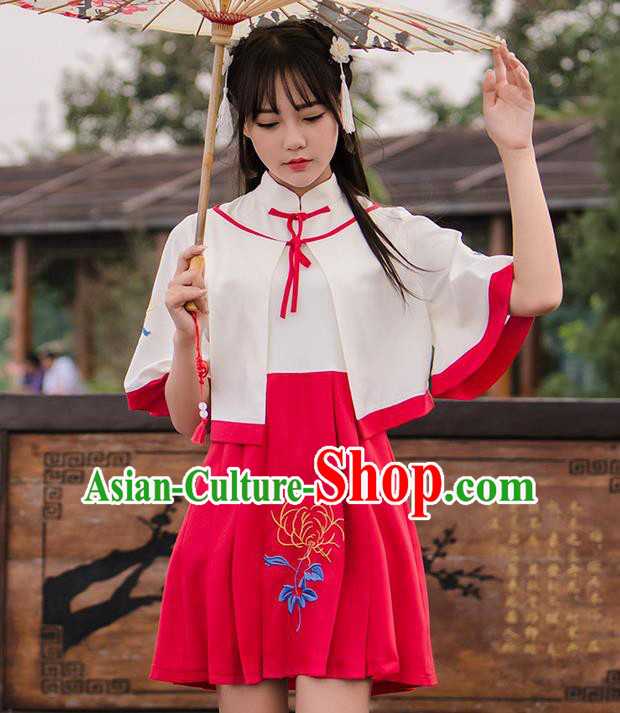 Traditional Ancient Chinese Female Costume Improved Short Coat and Dress Complete Set, Elegant Hanfu Clothing Chinese Ming Dynasty Palace Princess Embroidered Clothing for Women