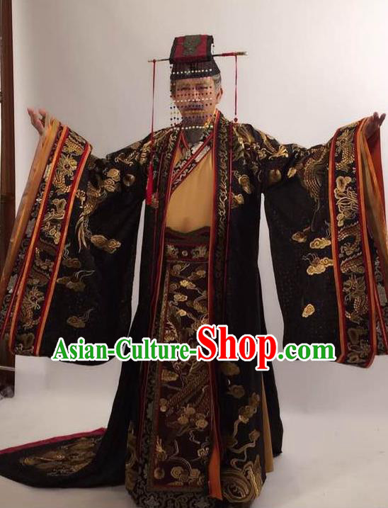 Traditional Ancient Chinese Imperial Emperor Costume and Hat Complete Set, Elegant Hanfu Palace King Robe, Chinese Tang Dynasty Majesty Embroidered Dragon Clothing and Headwear for Men