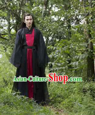 Traditional Ancient Chinese Imperial Prince Costume Complete Set, Elegant Hanfu Nobility Childe Robe, Chinese Teleplay Ten great III of peach blossom Role Li Jing Swordsman Cosplay Asmodians Clothing for Men