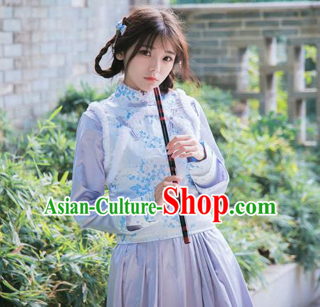 Traditional Ancient Chinese Female Costume Improved Vest, Elegant Hanfu Clothing Chinese Qing Dynasty Manchu Embroidered Blue Vests Clothing for Women