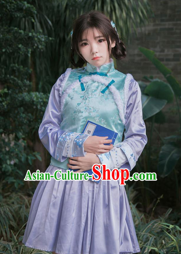 Traditional Ancient Chinese Female Costume Improved Vest, Elegant Hanfu Clothing Chinese Qing Dynasty Manchu Embroidered Green Vests Clothing for Women