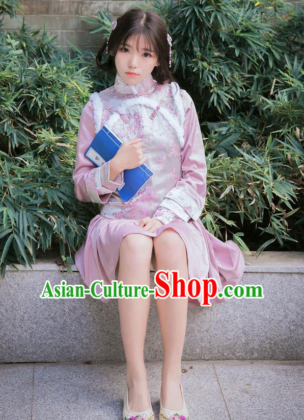 Traditional Ancient Chinese Female Costume Improved Vest, Elegant Hanfu Clothing Chinese Qing Dynasty Manchu Embroidered Pink Vests Clothing for Women