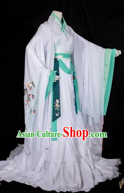 Traditional Ancient Chinese Imperial Consort Costume, Elegant Hanfu Clothing Chinese Tang Dynasty Imperial Empress Cosplay Fairy Tailing Embroidered Peach Blossom Dress for Women