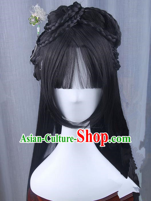 Traditional Handmade Ancient Chinese Han Dynasty Princess Hair Decoration and Wig Complete Set, Ancient Chinese Young Lady Headwear and Wig for Women