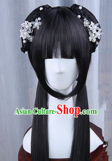 Traditional Handmade Ancient Chinese Han Dynasty Imperial Princess Hair Decoration and Wig Complete Set, Ancient Chinese Young Lady Headwear and Wig for Women