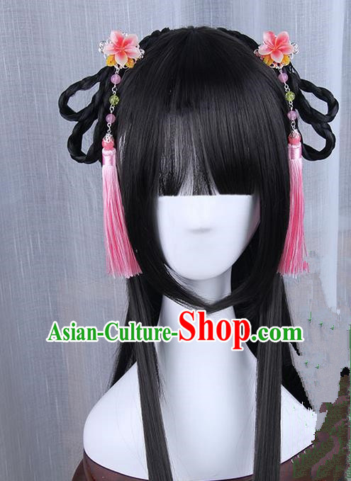 Traditional Handmade Ancient Chinese Han Dynasty Imperial Princess Wig, Ancient Hanfu Chinese Young Lady Wig for Women