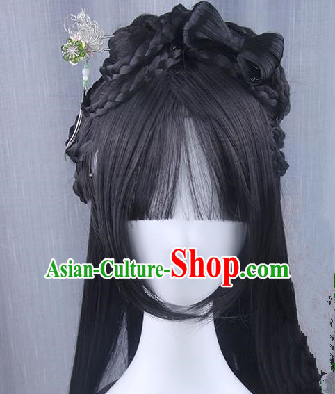 Traditional Handmade Ancient Chinese Tang Dynasty Imperial Empress Wig, Ancient Chinese Queen Wig for Women