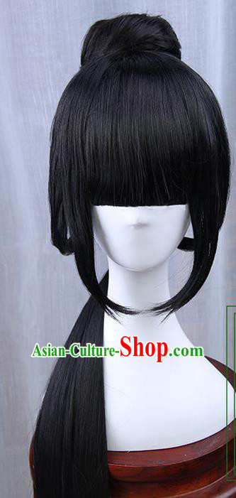 Traditional Handmade Ancient Chinese Han Dynasty Imperial Princess Wig, Ancient Chinese Cosplay Fairy Palace Young Lady Hair Wig for Women