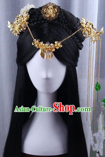Traditional Handmade Ancient Chinese Tang Dynasty Imperial Empress Wedding Hair Decoration and Wig Complete Set, Ancient Chinese Cosplay Fairy Queen Peony Headwear and Wig for Women