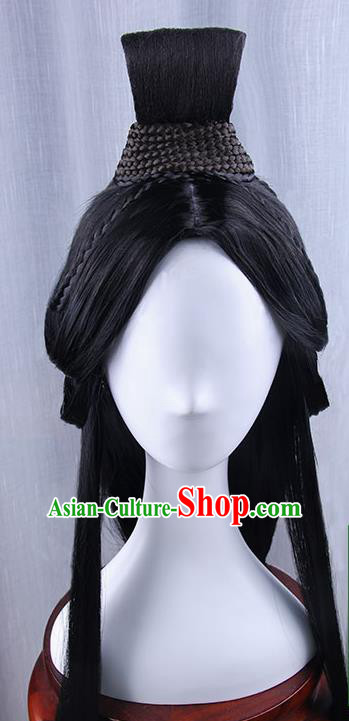 Traditional Handmade Ancient Chinese Han Dynasty Imperial Princess Fairy Wig, Ancient Chinese Cosplay Fairy Palace Young Lady Hair Wig for Women