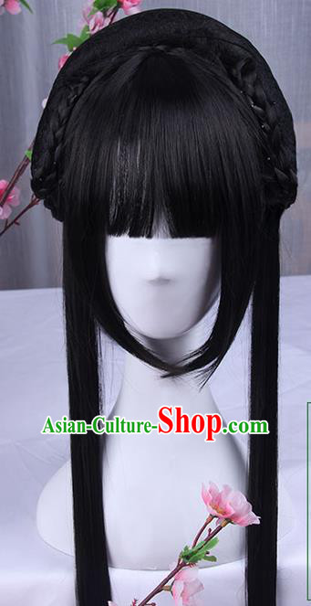 Traditional Handmade Ancient Chinese Han Dynasty Imperial Princess Wig, Ancient Chinese Hanfu Cosplay Fairy Young Lady Wig for Women