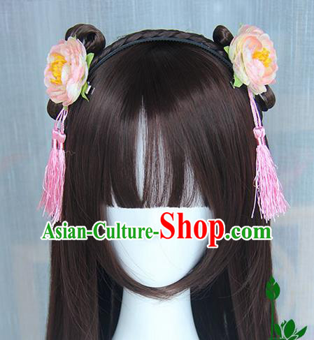 Traditional Handmade Ancient Chinese Han Dynasty Imperial Princess Hair Decoration and Wig Complete Set, Ancient Chinese Cosplay Fairy Palace Lady Hanfu Headwear and Wig for Women