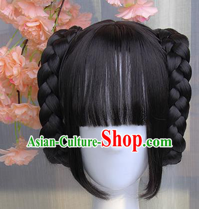 Traditional Handmade Ancient Chinese Han Dynasty Imperial Princess Wig, Ancient Chinese Hanfu Cosplay Fairy Lady Wig for Women