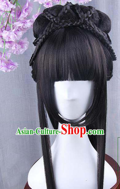 Traditional Handmade Ancient Chinese Han Dynasty Imperial Princess Wig, Ancient Chinese Hanfu Cosplay Fairy Palace Lady Queen Neat Bang Wig for Women