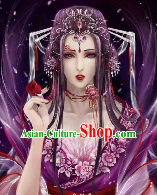 Traditional Handmade Ancient Chinese Han Dynasty Imperial Princess Hair Decoration Ox Hair Clasp and Wig Complete Set, Ancient Chinese Hanfu Cosplay Fairy Young Lady Headwear and Wig for Women