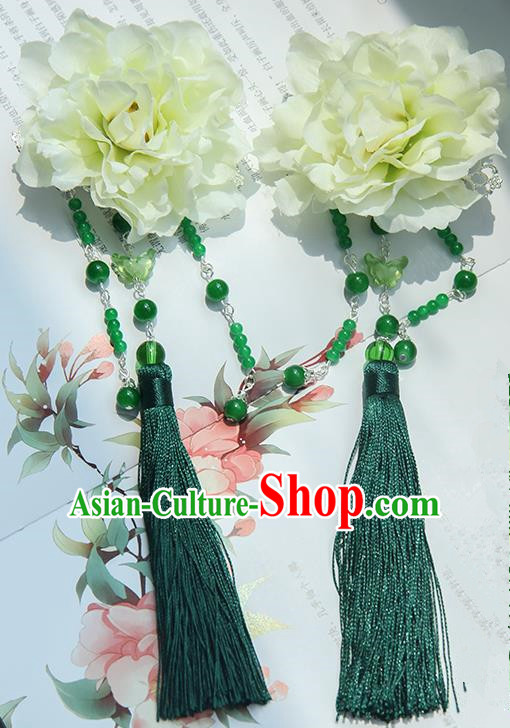 Traditional Handmade Chinese Ancient Princess Classical Hanfu Accessories Jewellery Green Silk Flowers Hair Sticks Hair Claws, Tassel Hair Fascinators Hairpins for Women