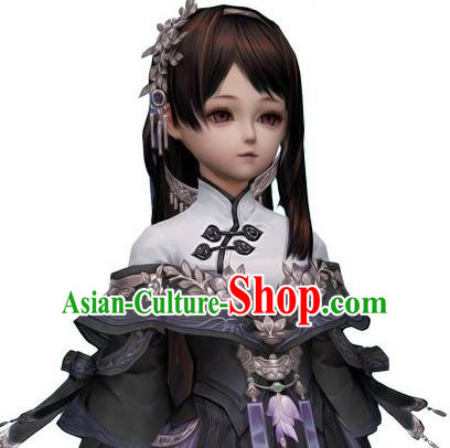 Traditional Handmade Ancient Chinese Han Dynasty Imperial Princess Wig, Ancient Chinese Hanfu Cosplay Fairy Queen Young Lady Brown Wig for Women