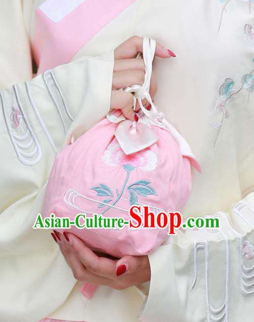 Traditional Ancient Chinese Female Embroidered Flowers Handbags, Elegant Hanfu Ming Dynasty Embroidered Palace Princess Pink Bag for Women