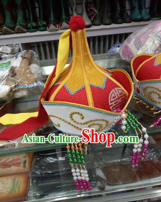 Traditional Chinese Mongol Nationality Dancing Accessories Headdress, Mongolian Folk Dance Ethnic Headwear China Minority Dance Red Hat for Women