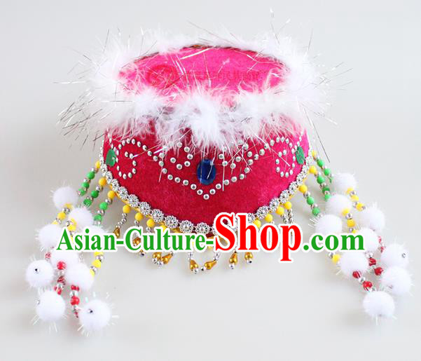 Traditional Chinese Mongol Nationality Dancing Accessories Headdress, Mongolian Kids Folk Dance Ethnic Headwear China Minority Palace Princess Dance Rose Hat for Children