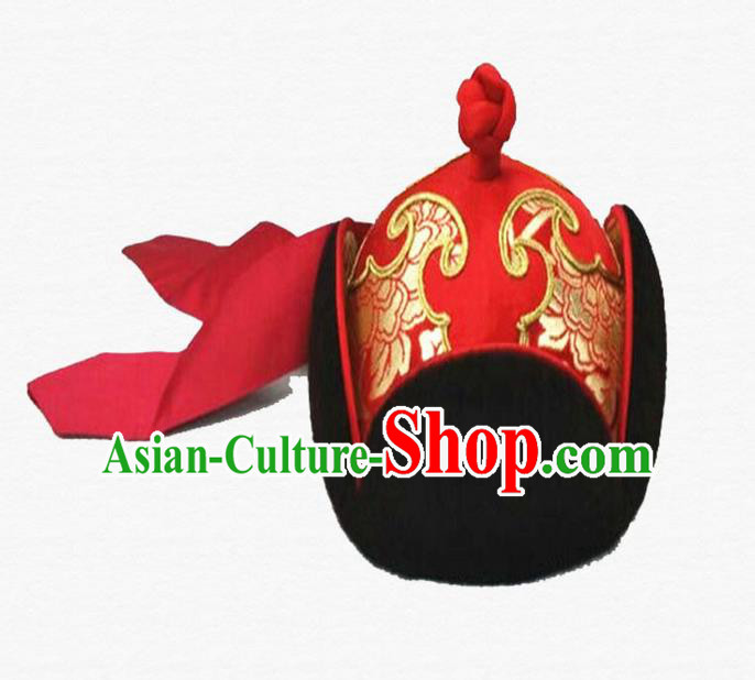 Traditional Chinese Top Grade Mongol Nationality Dancing Accessories Headdress, Mongolian Princes Folk Dance Ethnic Headwear China Mongolian Minority Royal Highness Wedding Red Hat for Men