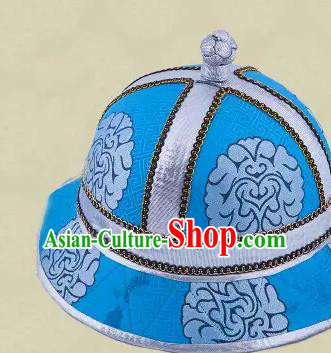 Traditional Chinese Top Grade Mongol Nationality Dancing Accessories Headdress, Mongolian Princes Folk Dance Ethnic Headwear China Mongolian Minority Royal Highness Wedding Round Blue Hat for Men