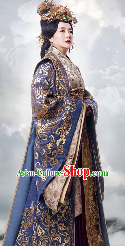 Traditional Ancient Chinese Imperial Empress Dowager Costume, Elegant Hanfu Palace Lady Dress, China Han Dynasty Imperial Queen Mother Embroidered Tailing Clothing for Women