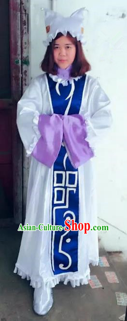 Traditional Ancient Chinese Classical Cartoon Character Uniform Cosplay Game Role Taoist Priest Costume and Headwear Complete Set for Men for Women