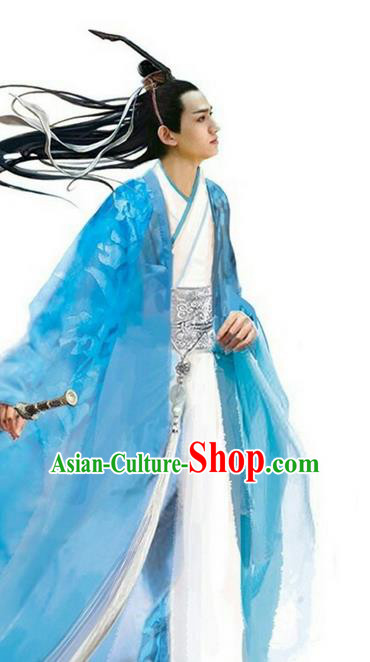 Traditional Ancient Chinese Nobility Childe Costume, Elegant Hanfu Male Lordling Dress Ancient Swordsman Literati Clothing, China Warring States Period Qu Yuan Imperial Prince Embroidered Clothing for Men