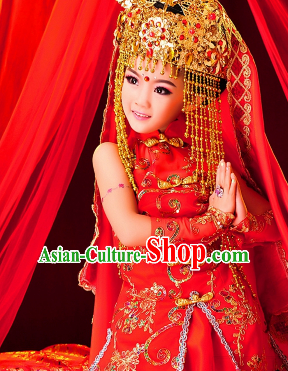 Chinese Ancient PPalace Dancer Garment and Hat Complete Set for Kids Children Youth
